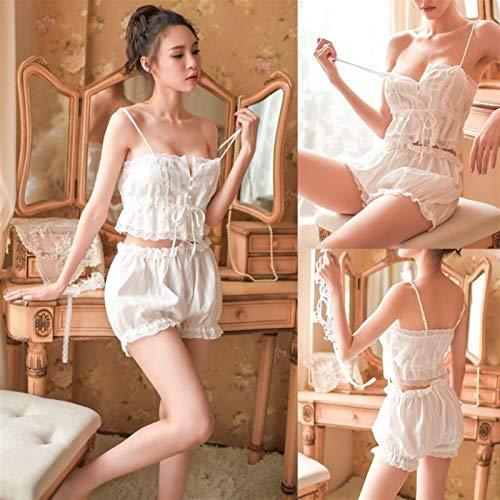 Ropa de dormir Pijamas de algodón Conjunto para mujeres Pijamas blancas Trajes Pantalones cortos suaves ropa interior sin mangas Lencería de encaje (Color : White)