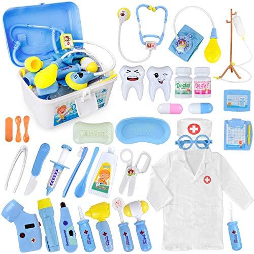 MerryXGift Arztkoffer Kinder 35 Teile Rollenspiele Arzt Zahnarzt Spielzeug Doktorkoffer Geschenke mit Arztkittel für Jungen Mädchen