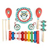 Kids Musical Instruments Sets, 12pcs Wooden Percussion Instruments Toys Tambourine Xylophone for Kids Playing Preschool Education, Early Learning Musical Toys for Boys and Girls Gift (New-Red)