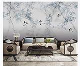 Fototapeten Marmorierte Blume und Vogel Wandtapete Vlies Wand Tapete 300x210 cm - 6 Streifen wohnzimmer Schlafzimmer Büro Flur Dekoration Wandbilder Moderne Wanddeko