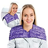 Upper Body Neck & Shoulder Wrap- Microwavable & Reusable - Hot and Cold Therapy for Anxiety, Stress, Tension Relief by Nature Creation (Purple Flowers)