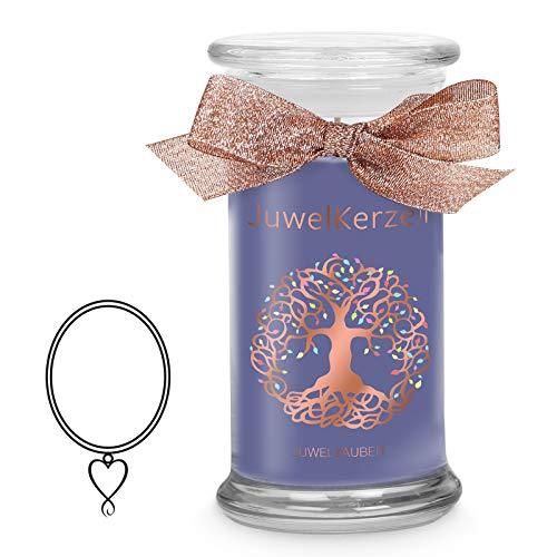 JuwelKerze Schmuckkerze 'Juwelzauber' große lilane Duftkerze mit echtem Silber Schmuck (Kette) - Kerze mit Schmucküberraschung als Geschenk für sie