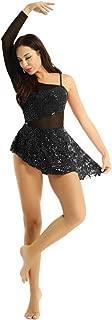 Women's Single Long Sleeve Shiny Sequins Lace Ballet Dance Leotard Skirt Gymnastic Dress