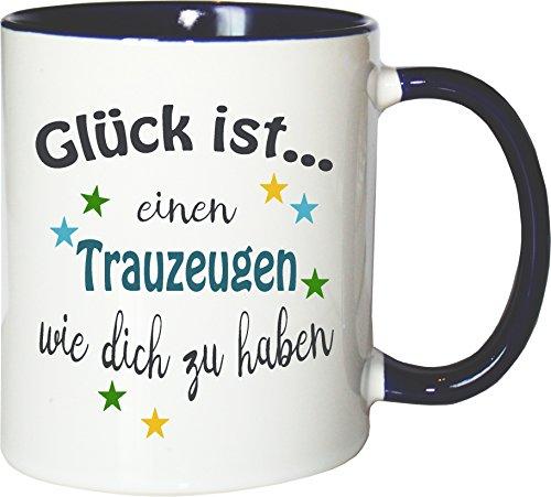 WarmherzIch Becher Tasse Glück ist… Trauzeuge Kaffee Kaffeetasse liebevoll Bedruckt Freund Hochzeit Bro Weiß-Blau