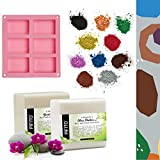 Pifito DIY Hand Soap Making Supplies Kit │ Set Includes Melt and Pour Soap Base (Goats Milk, Shea Butter), Mica 'Original' Colorants Sampler (10 Colors), Soap Mold