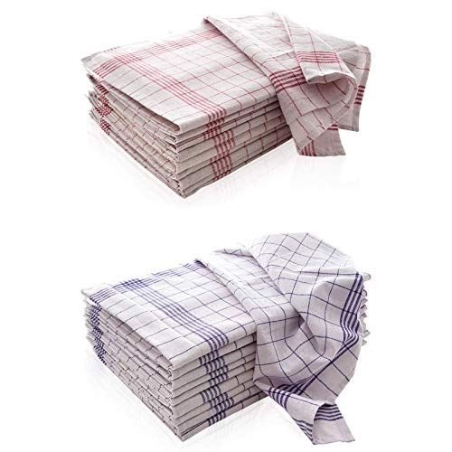 10-er Set Geschirrtücher | Trockentuch | Allzweck-Tücher 5X Rot & 5X Blau kariert 50x70 cm aus 100% Baumwolle | ÖKO-TEX Standard | Premium-Qualität - Vielfältig einsetzbar