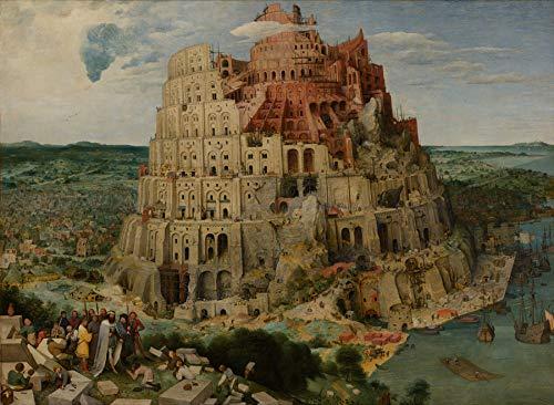 A Torre de Babel Alcançar o Céu Metrópole Falta de Comunicação e Desordem 1563 Pintura de Pieter Bruegel o Velho na Tela em Vários Tamanhos (110 cm X 80 cm tamanho da imagem)