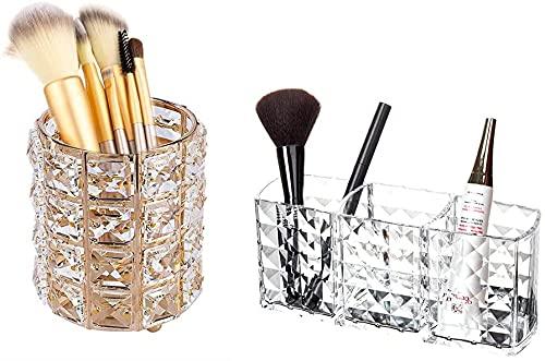 Recet Caja de almacenamiento de cosméticos para maquillaje, soporte para pinceles de maquillaje, redondo organizador para brochas de maquillaje, organizador de maquillaje, organizador para lápices