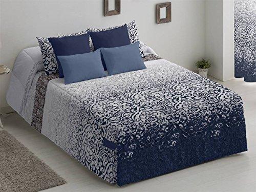 Camatex - Conforter Gloria Cama 150 - Color Azul (edredón de Acolchado Grueso época de frío con Cintas y Botones como Sistema de Ajuste)