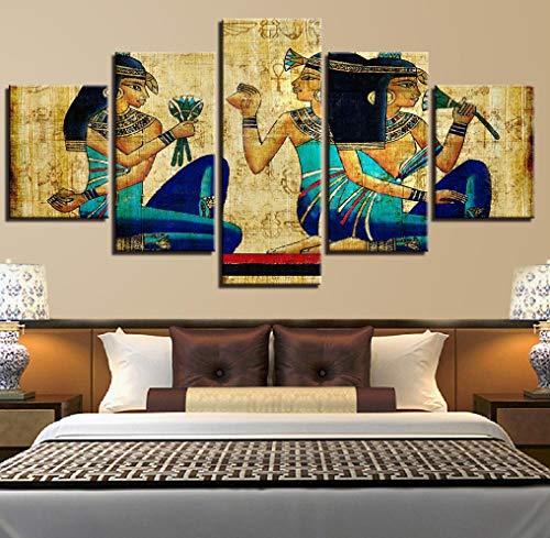 Leinwanddrucke5Stücke,Afrikanische Frau Malerei Wandkunst Modulare Poster Bilder Leinwand Modern Living Home Decor Ungerahmte Größe D.