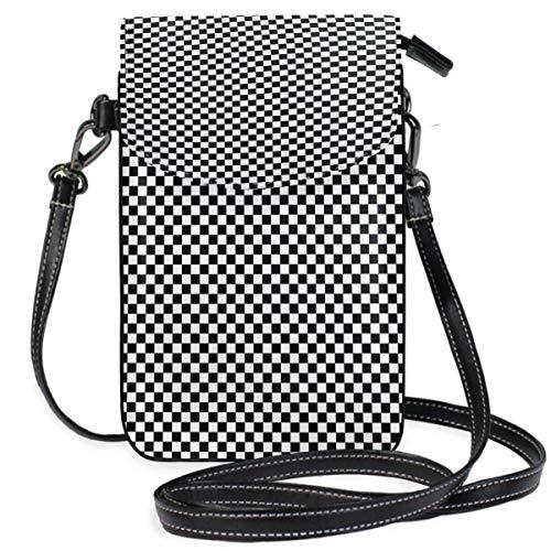 XCNGG Borsa piccola per cellulare Black Board Checker Cell Phone Purse Wallet for Women Girl Small Crossbody Purse Bags
