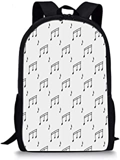 Music Stylish School Bag,Musical Notes Themed Melody Sonata Singing Songs Clef Tunes Hand Drawn Style Pattern Print for Boys,11''L x 5''W x 17''H