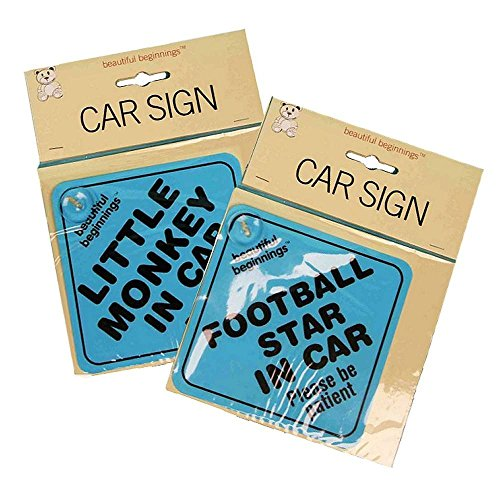 2 Pack Beautiful Beginnings Car Sign Kids Safety Baby Prince Football Star Blue