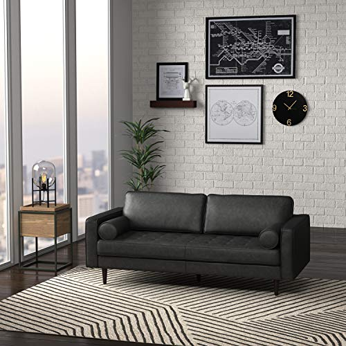 "Amazon Brand – Rivet Aiden Mid-Century Leather Sofa with Tapered Wood Legs, 74""W, Black"