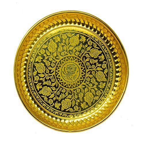 Spiritual World Golden Messing Designer Pooja Platte mit Lazer Rose Druck   Pooja ki Thali   Messing Pooja Platte   Golden Pooja thali   Pooja Thali Durchmesser 7 Zoll