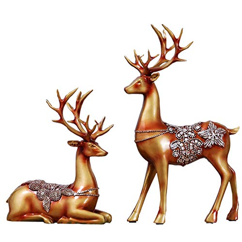 Olpchee 2Pcs Christmas Reindeer Resin Sculpture Individuality Deer Figurine Statue Home Office Decor Statues (Antique Gold)