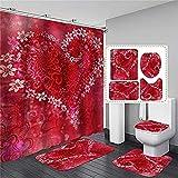 Conjuntos de cortinas de ducha 4pcs / set de San Valentín Cortina de ducha Día de San Valentín Amantes del corazón...
