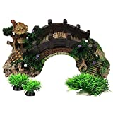 Smoothedo-Pets Decoraciones de pecera para acuario, tamaño S/M, adornos de peces, accesorios para esconderse de puente con plantas acuáticas (L)