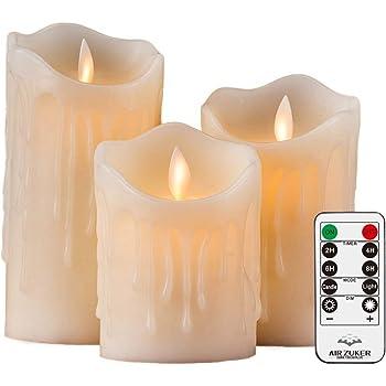 """Air Zuker 3er LED Flammenlose Kerzen Tropfenförmige batteriebetriebene Kerzen Säule Echtwachskerzen mit Timer und 10 Tasten Fernbedienung, höhe 4""""5"""" 6"""" für Dekorations zB. Party, Hochzeit, Tisch"""