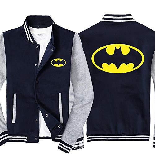 COZY LS Chaqueta De La Sudadera para Hombre para DC Impreso Sportswear Uniforme De Béisbol Uniforme De Manga Larga Double Breasted Chaquetas - Adolescente Regalo Blue Gray- 2XL