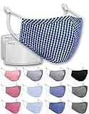 Luftty Kinder Behelfs-Mundschutz mit Filter PM2.5, Alltagsmaske Set für Junge Mädchen, wiederverwandbare Baumwoll Stoff Maske, waschbare Gesichtsmaske mit vielen Motiven (Caro2-Blau)