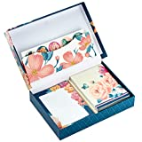 Hallmark Stationery Set with Desk Organizer, Floral (10 Blank Cards with Envelopes, 20 Writing Sheets with Envelopes, 75-Sheet Notepad, 30 Seals)