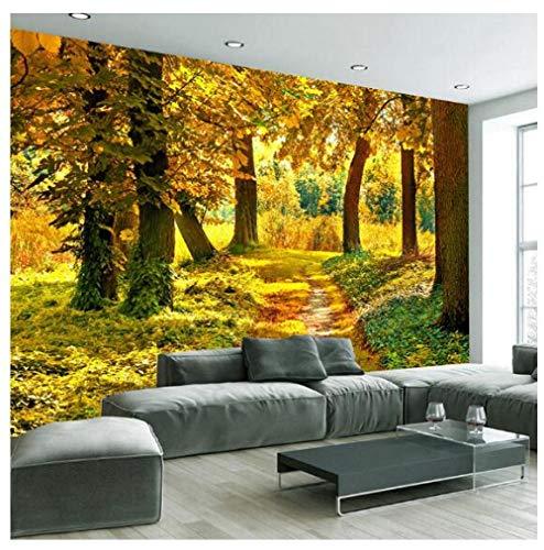 3D Mural papier behang fotobehang muur decoratie herfstbos maple leaf muurschildering 350 cm x 245 cm.
