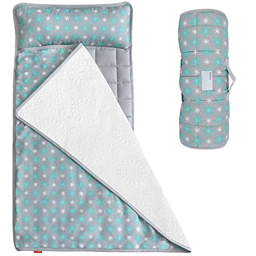 Nap Mat for Toddlers, Kids Nap Mat with Removable Pillow and Fleece Minky Blanket, Lightweight and Soft Perfect for Kids Preschool, Daycare, Travel Sleeping Bag Boys and Girls, Fit on a Standard Cot