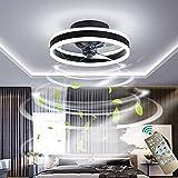 Ventilador de techo moderno con kit de luz reversible, lámpara LED con mando a distancia, montaje empotrado, 96 W, silencioso, para cocina, salón, habitación de los niños, color negro