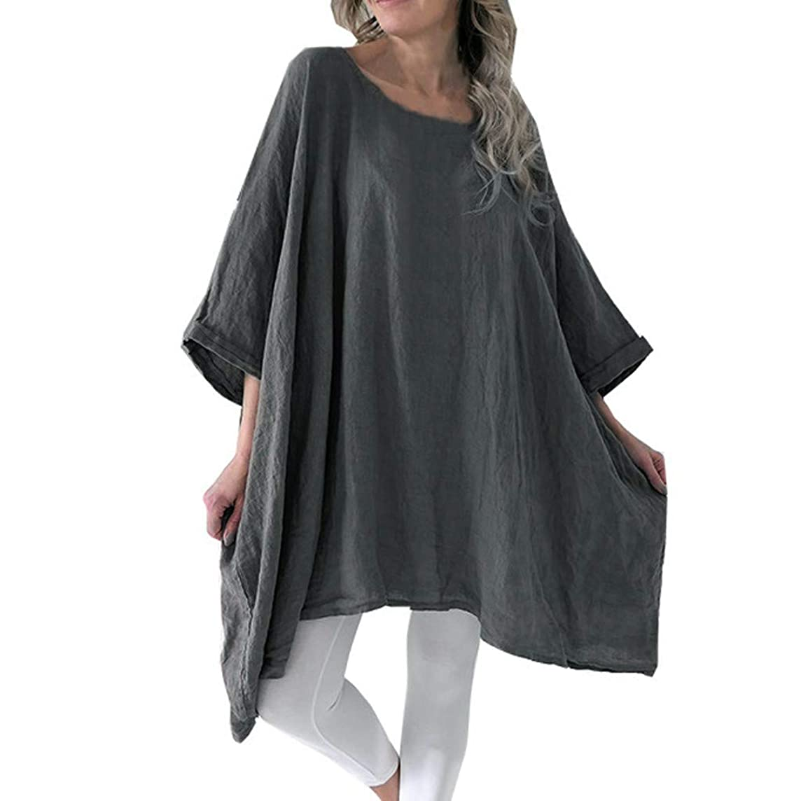 TUSANG Women Tees Cotton Linen Batwing Half Sleevel Shirt Irregular Hem Casual Loose Blouse Loose Fit Comfy Tunic
