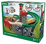 BRIO World 33887 Großes Lagerhaus-Set mit Aufzug – Eisenbahnzubehör für die BRIO Holzeisenbahn – Bauspielzeug & Konstruktionsspielzeug empfohlen für Kinder ab 3 Jahren