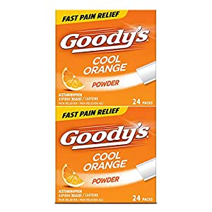 Goody's Extra Strength Cool Orange Headache Powder provides great-tasting temporary relief of minor aches and pains due to headaches, minor arthritis pain, colds, backaches, muscle aches, toothaches and menstrual cramps Powder formula works fast to r...