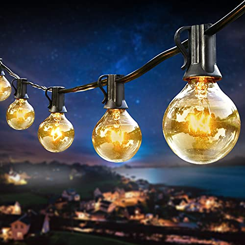 KooPower G40 Outdoor Garden Lights Mains Powered, 25FT 25 + 3(Spare) Bulb Waterproof Pergola String Lights Connectable Festoon Lights for Indoor/Outside, Xmas, Wedding, Party, Fence Decoration