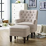 Rosevera Duilio Collection Fabric Nailhead Club, Contemporary Accent Chairs, Velvet Beige with Ottoman