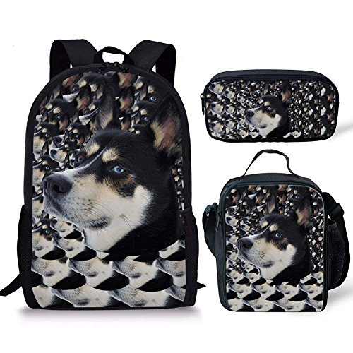 Coloranimal, Kinder Kinderrucksack, Husky Backpack+lunch Bag+pencil Case (Mehrfarbig) - K-CC2306C+G+K