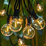 Dimmable 50FT G40 Globe String Lights for Patio, LED Hanging Lights Waterproof with 25 1W Bulbs, Shatterproof Outdoor Lights String for Porch, Edison Bulb String Lights, E12, 2200K Warm White, Black