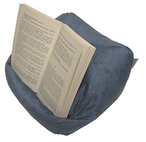 LESEfit Soft antirutsch Lesekissen, Tablet Kissen Halter kompatibel mit iPad, rundum Sitzsack für Buch & e-Reader (multifunktionale Quader-Form) für Bett & Sofa - Wildleder-Imitat blau