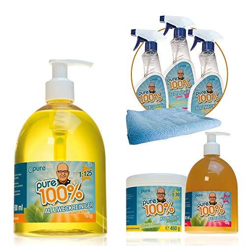 Mediashop Pure100 Mega Package Spezial-Reiniger | Allzweckreiniger, Kalklöser, Fettlöser | 3 Sprühflaschen | mit Mikrofasertuch | Universalreiniger, Konzentrat | vegan | Das Original aus dem TV