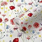 Papel pintado de flores multicolor con diseño de flores y flores, estilo rústico, vintage, rojo,...