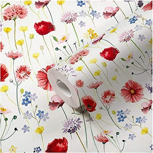 Tapete Blumen bunt Blumenwiese Muster Papiertapete Floral Blumentapete Landhausstil Vintage Rot Blau Grün Rosa für Wohnzimmer Schlafzimmer Küche Flur Made in Germany
