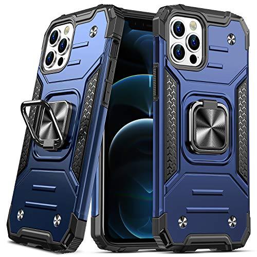 DASFOND Diseñado para iPhone 12 Pro MAX Funda, Funda Protectora para teléfono de Grado Militar con Soporte Mejorado [Soporte magnético] para iPhone 12 Pro MAX 6.7'', Azul