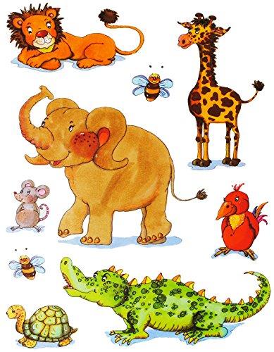 alles-meine.de GmbH 9 TLG. Set _ Fensterbilder -  Zootiere - Elefant, Giraffe - Zoo  - statisch haftend - selbstklebend + wiederverwendbar / Krokodil - Sticker Fenstersticker A..