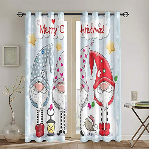 LanQiao Greeting Christmas Card with Three Cute Gnomes on a Blue Background Grommet Curtain for Living Room W63 x L72 2 Panel Darkening Curtains