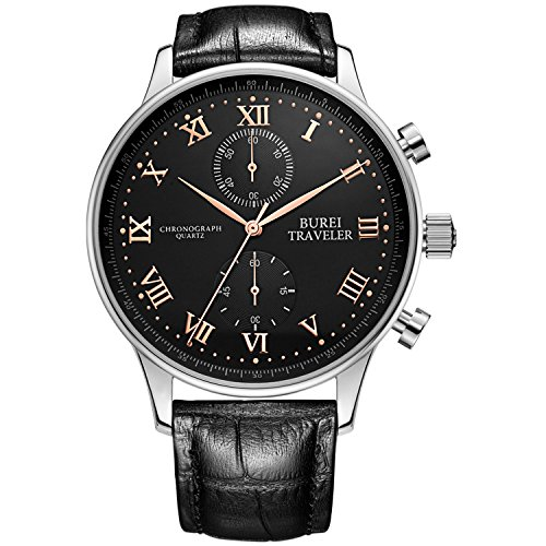 BUREI Men Chronograph Watches with Day Date Analog Dial Genuine Leather Strap & Stainless Steel Watch Band (BM-7002-P01ERL-AXG)