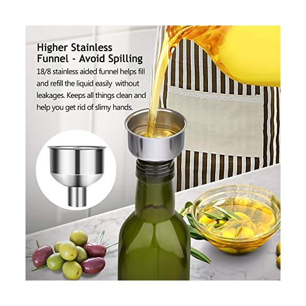 Aozita 17oz Glass Olive Oil Bottle - 500ml Green Oil & Vinegar Cruet with Pourers and Funnel - Olive Oil Carafe Decanter… 5 51qAPUO8REL