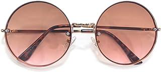 MERRY PLEASURE (メリープレジャー) サングラス メンズ レディース 伊達メガネ ボストン ラウンド 丸メガネ 丸型 大きいレンズ ライトカラーレンズ 薄い色 カラーレンズサングラス UVカット