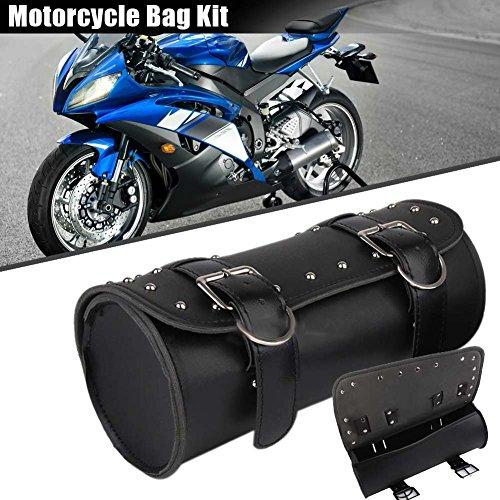 Symboat - Sillín de piel sintética para moto, para equipaje, viaje, moto, rollo de bolsas para Harley
