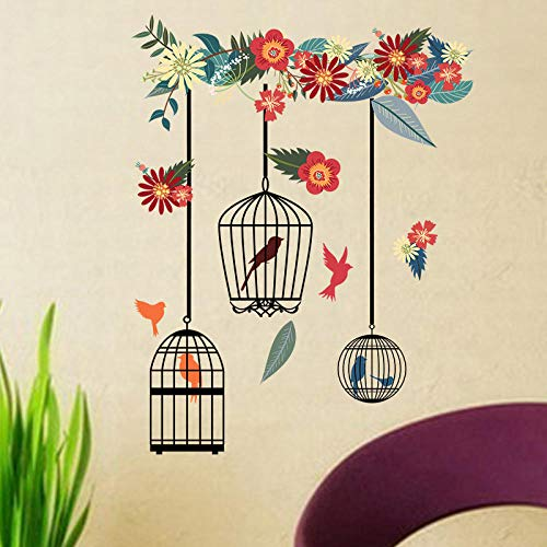 Sticker murals 1 Piece of Colorful Flower Bird cage DIY Wall Stickers Living Room Decoration Floral Wedding PVC Wall Art Bedroom Decals 58 * 32 cm