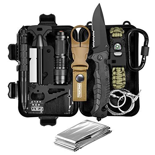 TRSCIND Kit di Sopravvivenza 11 in 1 Compatto con Bracciale Paracord, Usato per Esterna First Aid Kit per Gli Sport all'Aria Aperta, Campeggio, Alpinismo, ECC, Kit di Sopravvivenza Ufficiale