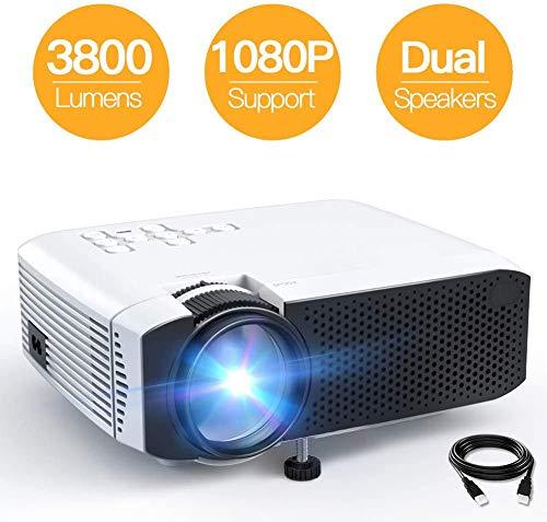 Draagbare projector -3800 lumen miniprojector voor iPhone en smartphone, 1080P ondersteuning HD-projector met 180